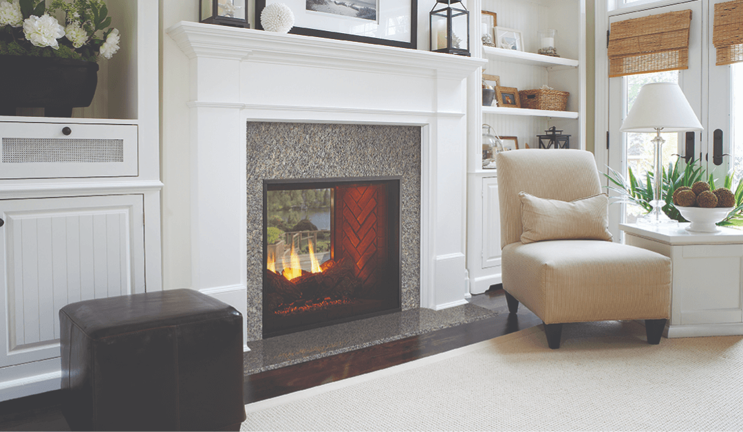 a middle-upper class family room highlights an indoor fireplace